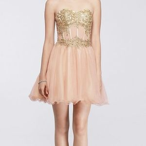 Short Homecoming Dress with Lace-Up Bodice BLONDIE